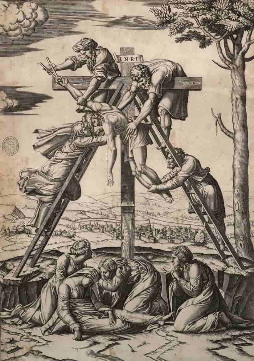 Marco Antonio Raimondi, Descendimiento Hacia 1520, Grabado