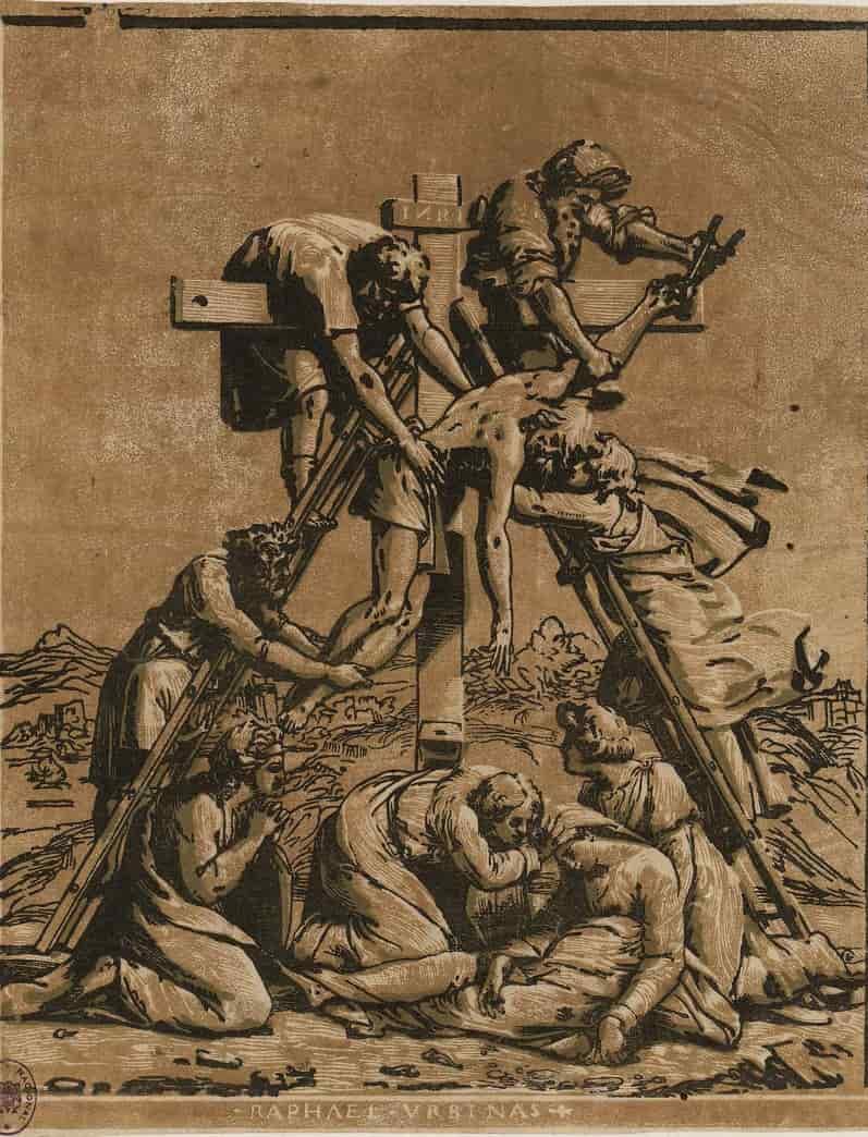Anónimo italiano Descendimiento s. XVI Grabado