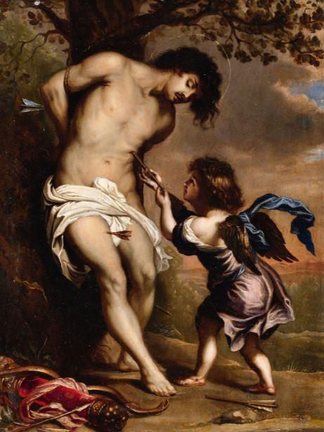 3.Gerard Seghers, [copia] San Sebastián confortado por el ángel c. 1670 Óleo sobre cobre