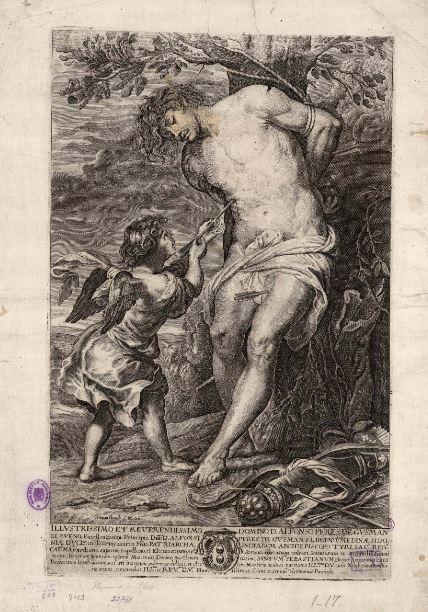 4.Paulus Pontius por Gerard Seghers San Sebastián confortado por el ángel  Editado por Herman Panneels f Matriti.  Entre 1636 y 1651 Grabado