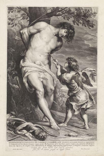 5.Paulus Pontius por Gerard Seghers San Sebastián confortado por el ángel  c.  1650 Grabado