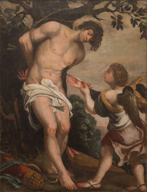7.Anónimo europeo San Sebastián confortado por el ángel  c. 1700 Óleo sobre lienzo Peyton Wright Gallery, Santa Fe, New México