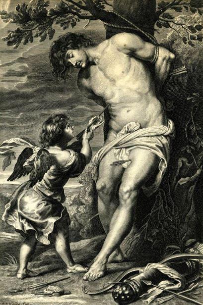 6.Paulus Pontius por Gerard Seghers, versionado por François Ragot   San Sebastián confortado por el ángel  Entre 1660 y 1670 Grabado
