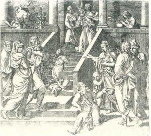 11. Jean Vaquet. Presentación del la Virgen,  1544-50. Grabado