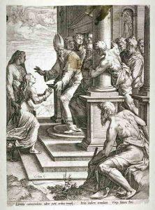 12. Cornelis Cort  por Taddeo Zuccaro. La presentación de la Virgen en el templo, c. 1570. Grabado
