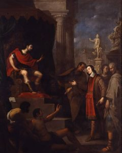 13. Juan de Sevilla. San Pantaleón ante el emperador Maximiliano cura a un enfermo, c. 1686-1695. Museo de Bellas Artes de Granada
