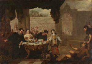 14. Juan de Sevilla. El rico epulón y el pobre Lázaro, c. 1670. Museo del Prado