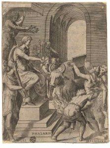 6. Giulio Bonasone. Falaris manda torturar a Perilo, c. 1574. Grabado.