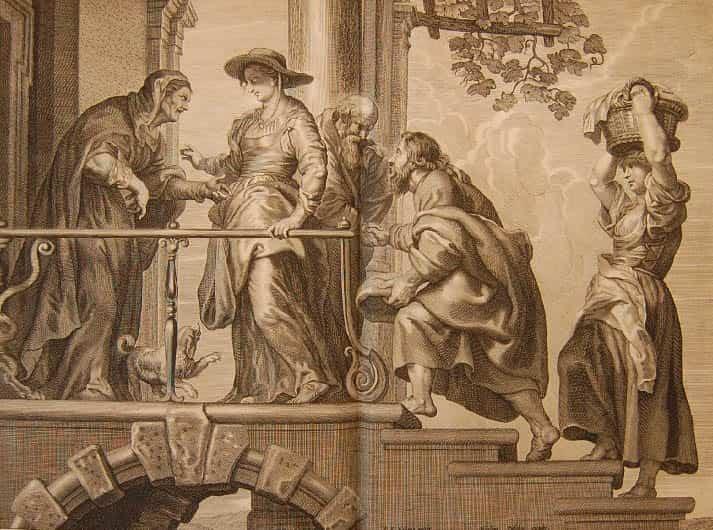 9. Claes Jansz. Visscher  por  Pedro P. Rubens. Visitación, 1652. Grabado