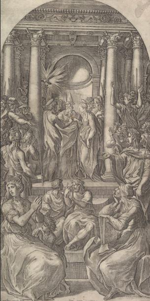 2. Giovanni Jacopo Caraglio por Parmigianino. Desposorios de la Virgen, c. 1525.Grabado