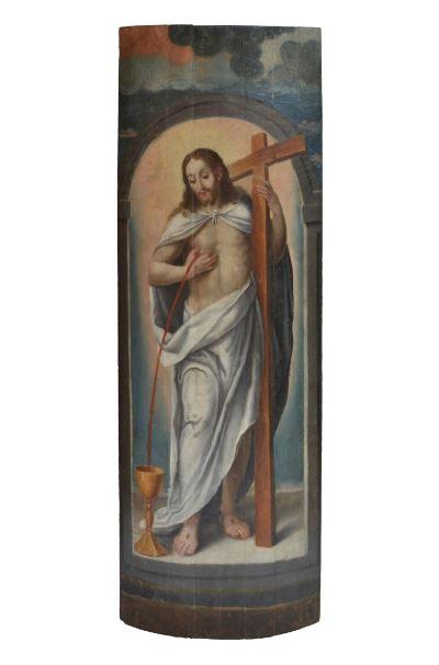 4. Artista desconocido Cristo Eucarístico (Manifestador ?), s. XVII Óleo sobre tabla
