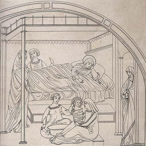 Fig 1. Grabado de la Natividad de la Virgen conservado en la Biblioteca de Santa María Novella