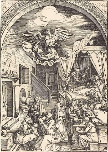 Fig 2. Grabado de la Natividad de la Virgen de Alberto Durero