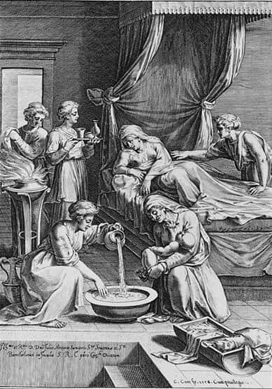 Fig. 3. Grabado de la Natividad de la Virgen de Cornelis Cort, 1578