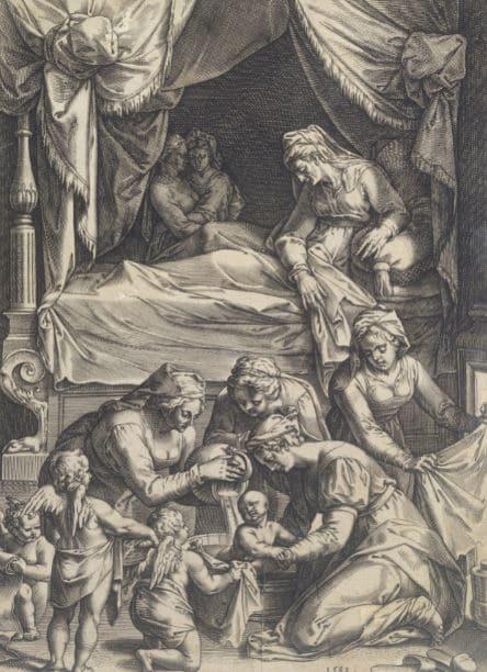 Fig. 4. Grabado de la Natividad de la Virgen de Julius Goltzius, 1581
