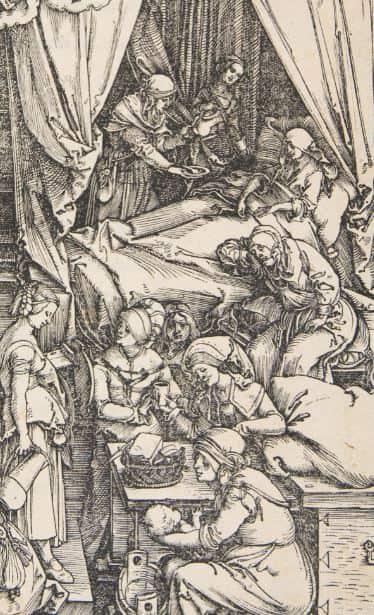 Fig.5 . Detalle del grabado de la Natividad de la Virgen de Alberto Durero